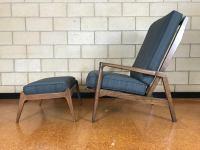 Mid-Century Modern High Back Lounge Chair & Ottoman | Chairish