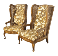 Midcentury Cane Wing Back Floral Arm Chairs