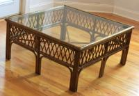 Bamboo, Wood and Glass Coffee Table | Chairish