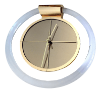 Mid-Century Modern Lucite & Brass Wall Clock | Chairish