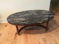 Marmi DI Carrara Marble Oval-Shaped Coffee Table | Chairish