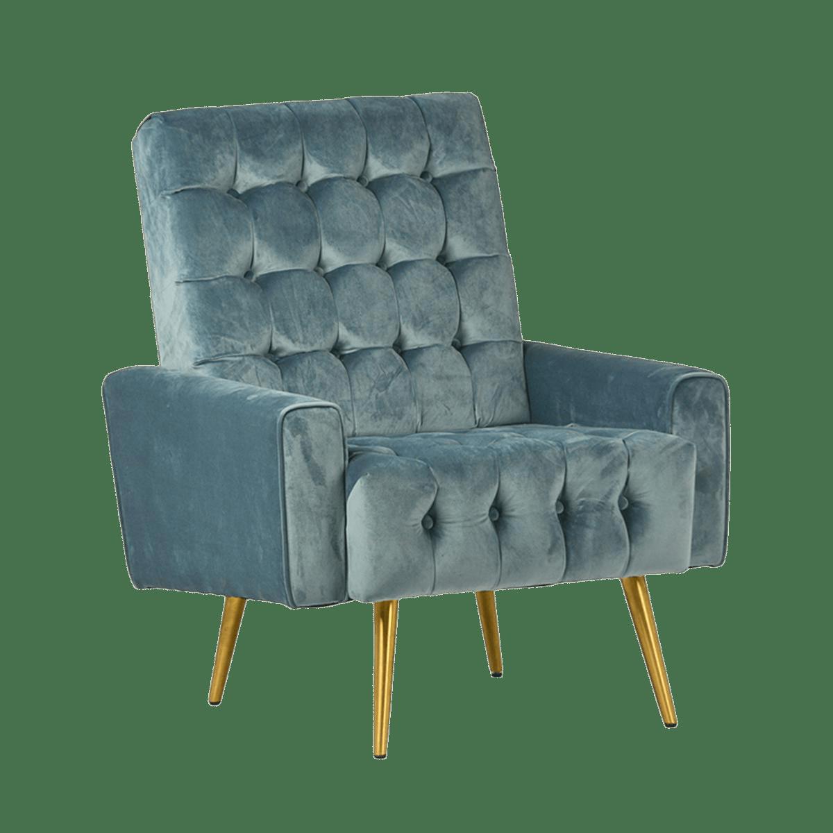 Teal Tufted Velvet Armchair  Chairish
