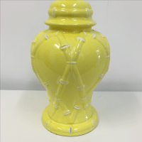 Vintage Yellow & White Faux Bamboo Lamp | Chairish