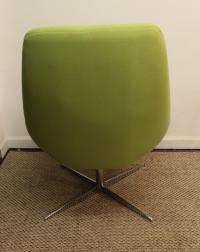 Mid-Century Lime Green Swivel Lounge Chair & Ottoman ...