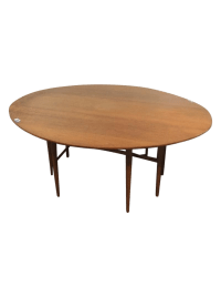 Mid-Century Modern Carved Drop-Leaf Dining Table | Chairish
