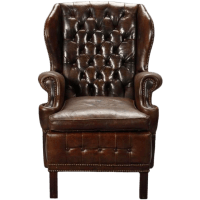 English Brown Leather Tufted Library Wing Chair | Chairish