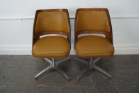 Brody Mid-Century Walnut Barrel Back Swivel Chairs - Pair ...