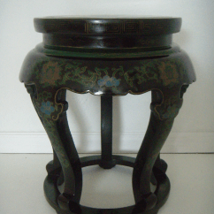 Hickory Chair Vanity Stool Guidecraft Media Desk Set Antique Chinese Cloisonné & Black Lacquer Drum/side Table | Chairish