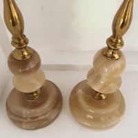 Art Deco Italian Alabaster Candleholders - A Pair | Chairish