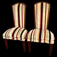 Mid-century Modern High Back Side Chairs - Pair | Chairish