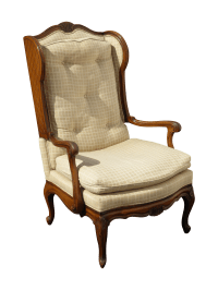 French Provincial Carved Tufted Wingback Chair   Chairish
