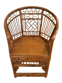 Burnt Bamboo Chinese Chippendale Accent Chair | Chairish
