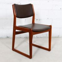 Set of 4 Danish Teak Sleigh Leg Chairs in Teak with New ...