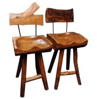 Tree Stump Bar Stools - Pair | Chairish