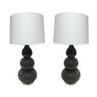 Grey Ceramic Gourd Shaped Lamps