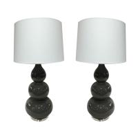 Grey Ceramic Gourd Shaped Lamps - A Pair | Chairish