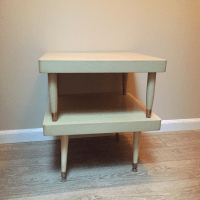 Mid-Century Two-Tier Blonde Wood Step Side Table | Chairish