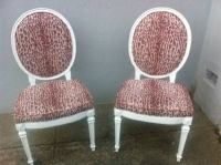 Leopard Print Louis Style Dining Chairs - Pair | Chairish