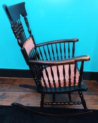 Antique Victorian Pressed Back & Crushed Velvet Rocking ...