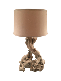 Mid-Century White-Washed Driftwood Table Lamp | Chairish