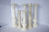 Distressed Wood Candle Holders - Set of 6 | Chairish