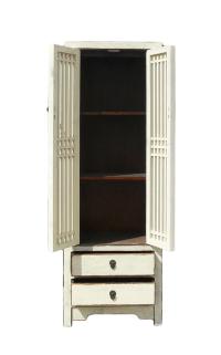 Rustic White Tall Narrow Cabinet, Shutter Doors | Chairish