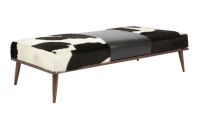 Elite Leather Black & White Leather Bench | Chairish