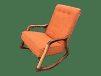 Custom Orange Mid Century Rocking Chair | Chairish