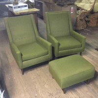 Mid-Century Moss Green Tufted Club Chairs & Ottoman Set ...
