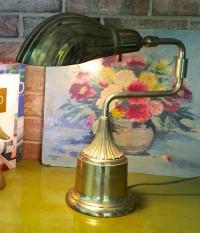 Mid-Century Heyco Brass Swivel Clam Shell Lamp | Chairish