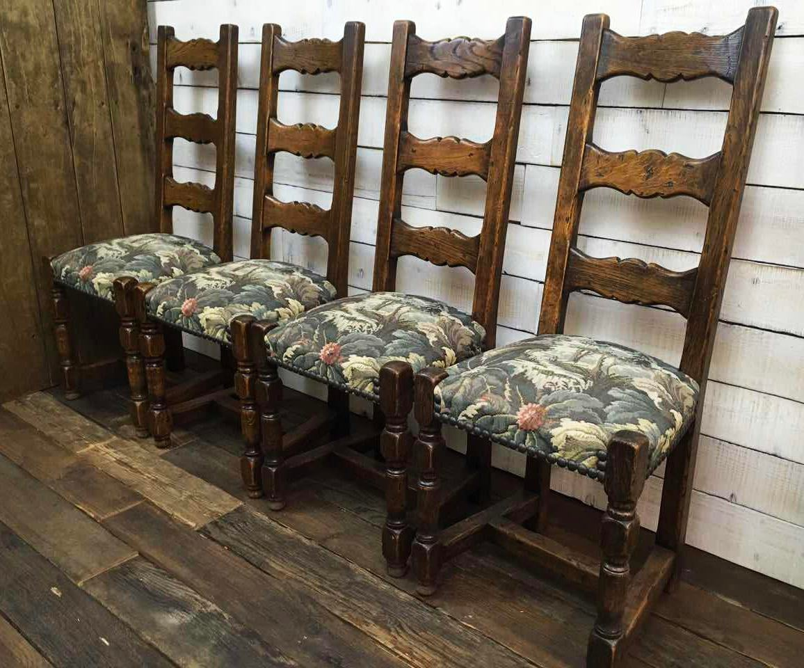 Vintage Oak High Back French Hunting Dining Chairs Floral