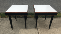 Mid-Century Walnut Formica End Tables - A Pair   Chairish
