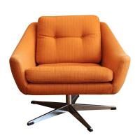 Orange Mid-Century Swivel Chair   Chairish