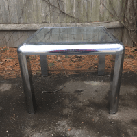 Mid-Century Chrome & Glass Side Table | Chairish