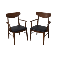 Mid-Century Walnut Dining Chairs by Stanley - Pair | Chairish
