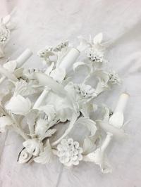 Vintage White Tole Sconces - a Pair | Chairish
