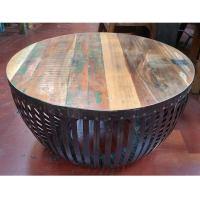 Round Iron & Reclaimed Wood Coffee Table | Chairish