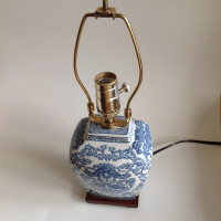 Blue & White Asian Chinoiserie Lamp | Chairish