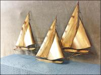 Mid Century Modern Gold Curtis Jere Signed Sailboat Wall