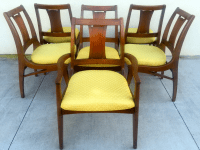 Mid Century Mod Curved Tailback Dining Chairs - 6 | Chairish