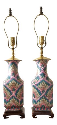 Vintage Heyward House Chinoiserie Table Lamps-A Pair ...