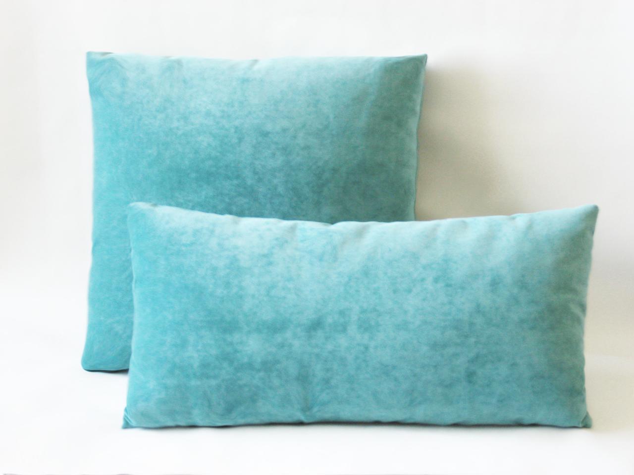 Turquoise Chenille Lumbar Pillow