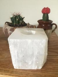 White Crystal Votive Candle Holder | Chairish