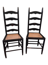 Rustic Ladder Back Cane Chairs - A Pair | Chairish