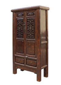 Chinese Distressed Brown Floral Motif Storage Cabinet ...