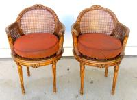 Neoclassical French Louis XVI Double Cane Tub Chairs- Pair ...