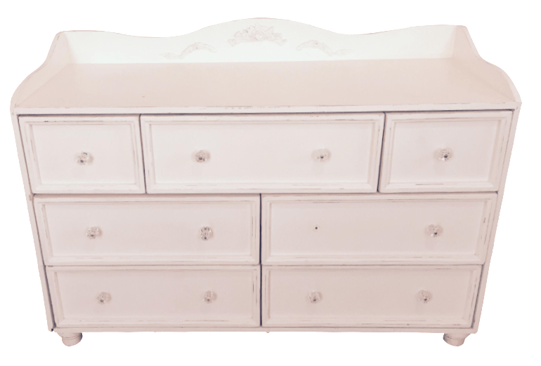 OffWhite Floral Carved Dresser  Chairish