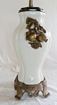 Bronze & White Porcelain Table Lamp | Chairish