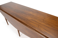 Mid-Century Walnut Oval Drop Leaf Dining Table | Chairish