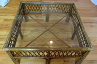 Bamboo, Wood and Glass Coffee Table | Chairish